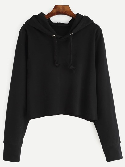 Black Crop Hooded Sweatshirt