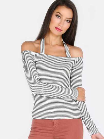 Striped Open Shoulder Halter Sleeve Top BLACK