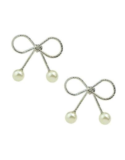 Silver Pearl Bow Stud Earrings