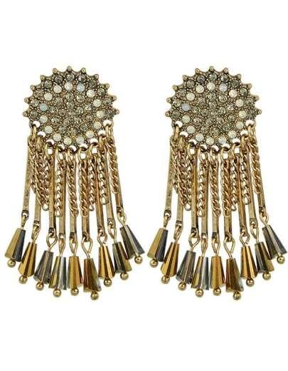 Gold Rhinestone Big Earrings