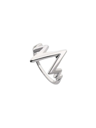Silver Electrocardiogram Shaped Ring