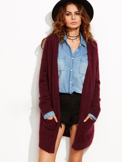 Burgundy Open Front Fluffy Sweater Coat With Pockets