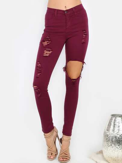 Distressed Stretch Denim Pants BURGUNDY