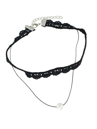 Gothic Style Black Lace Flower Choker Collar Necklace