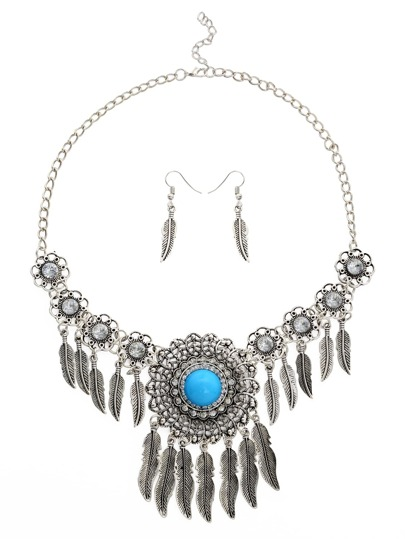 Faux Stone Inlay Feather Pendant Filigree Statement Necklace Set 2PCS