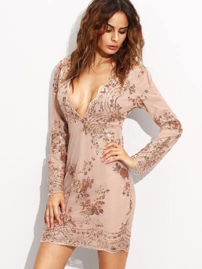 Deep V Neck Long Sleeve Sequined Sheath Dress