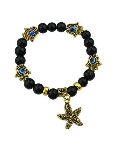 Black Beads Starfish Elastic Bracelet