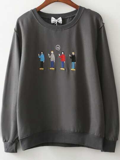 Dark Grey Cartoon Embroidery Sweatshirt