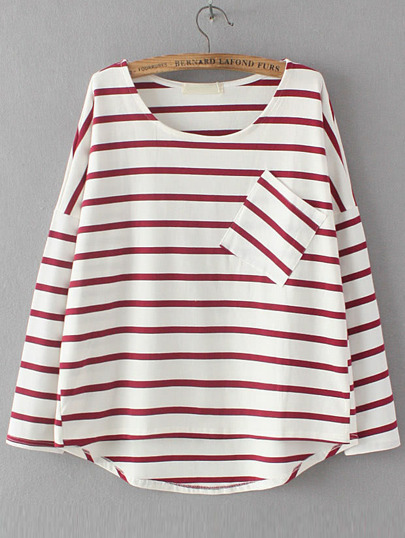 Red Dropped Shoulder Seam Striped Dip Hem Pocket T-Shirt