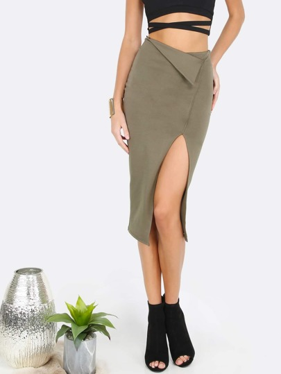 Asymmetrical Slit Bodycon Skirt OLIVE
