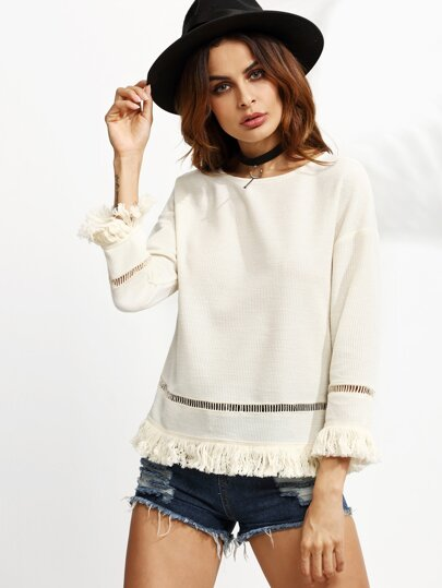 White Eyelet Crochet Insert Fringe Trim Top