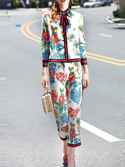 White Tie Neck Floral Top With Pants