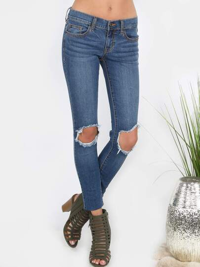 Knee Cut Denim Skinnies DENIM