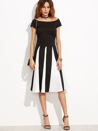 Black Bow Tie Back Top With Contrast Vertical Striped Skirt