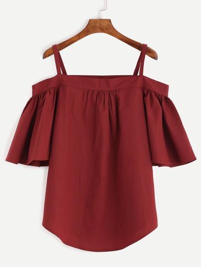Бордовая блуза с открытыми плечами