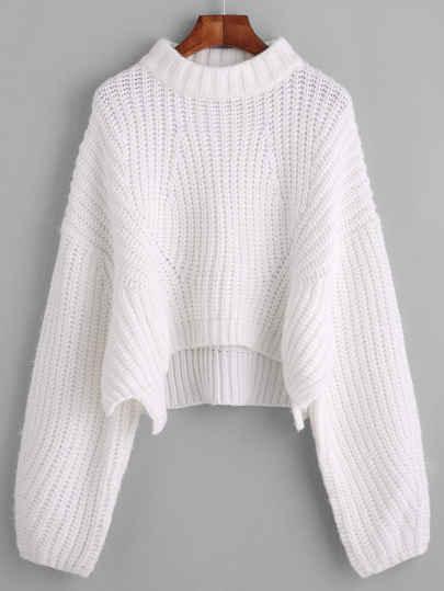 Drop Shoulder Lantern Sleeve Crop Sweater