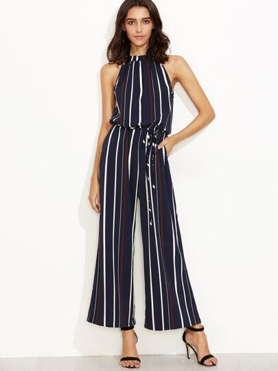 Multicolor Striped Sleeveless Drawstring Jumpsuit