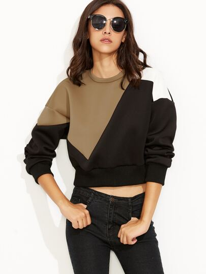 Color Block Drop Shoulder Crop Sweatshirt