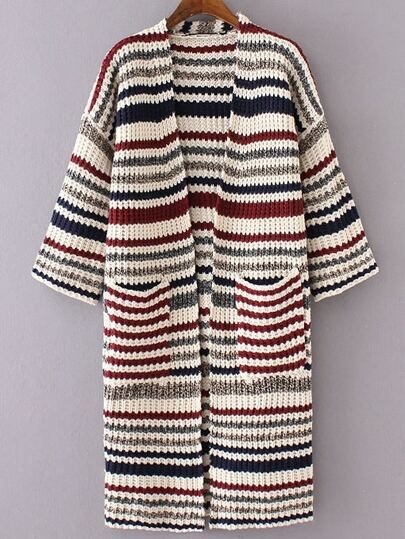 Red Mixed Stripe Collarless Drop Shoulder Long Sweater Coat
