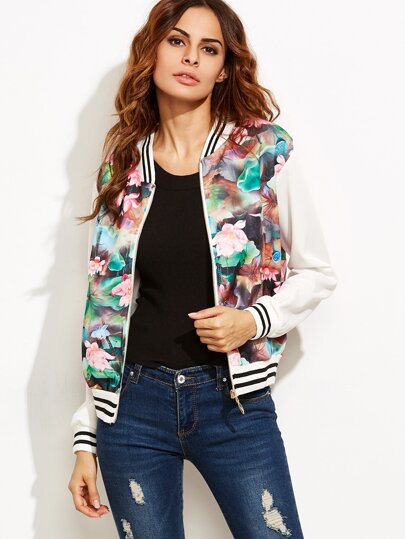 Floral Print Striped Hem Baseball Jacket