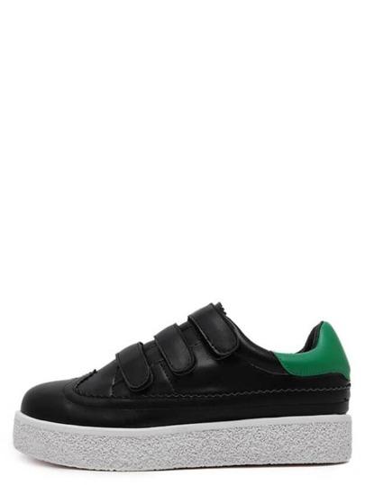 Zapatillas de deporte de puntera redonda con velcro - negro
