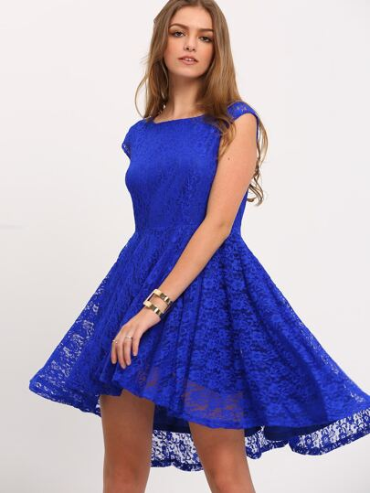 Blue Cap Sleeve V Back Asymmetric Dress