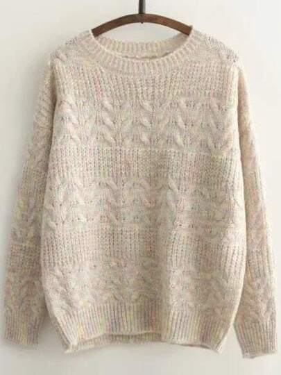 Khaki Cable Knit Round Neck Drop Shoulder Sweater