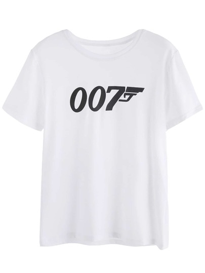 White Numbers Print T-shirt
