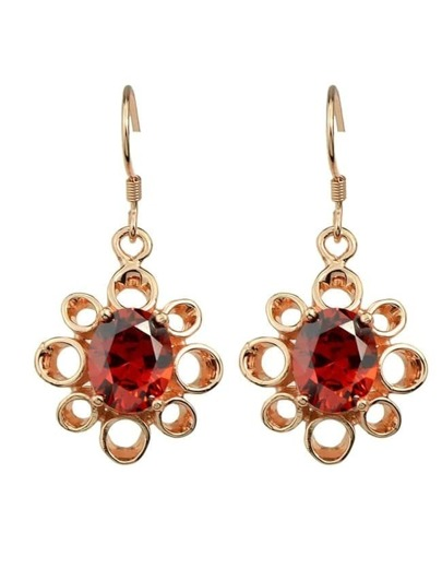 Rosegold Drop Stone Earrings