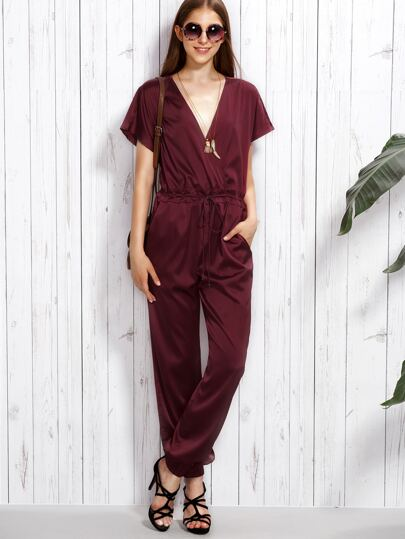 Burgundy V Neck Drawstring Short Sleeve Jumpsuit