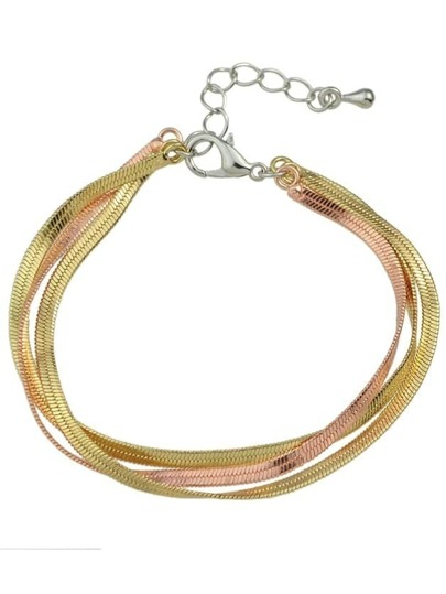 Gold Three Layers Braided Metal Chain Link Bracelet