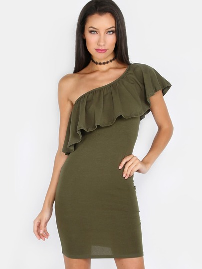 Solid One Shoulder Ruffle Dress OLIVE