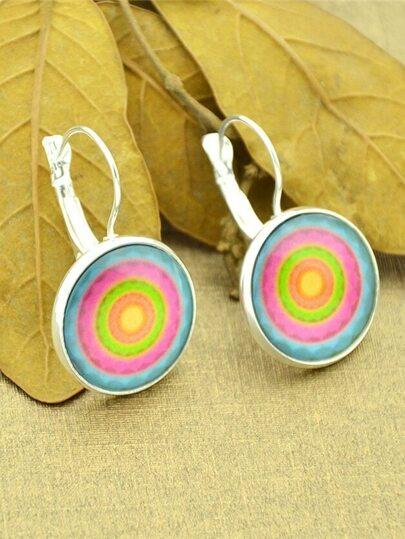 Silver Imitation Gemstone Round Hoop Earrings
