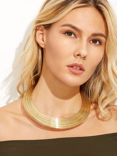 Gold Multi Layered Statement Choker Necklace