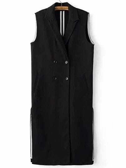Black Double Breasted Side Slit Long Blazer Vest