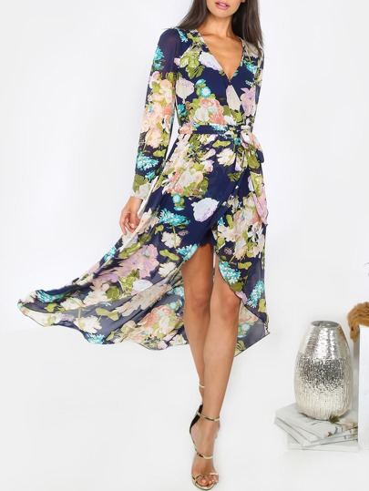 Long Sleeve Open Front Floral Dress NAVY