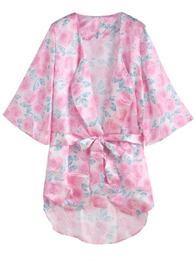 Pink Floral Print Self Tie Kimono