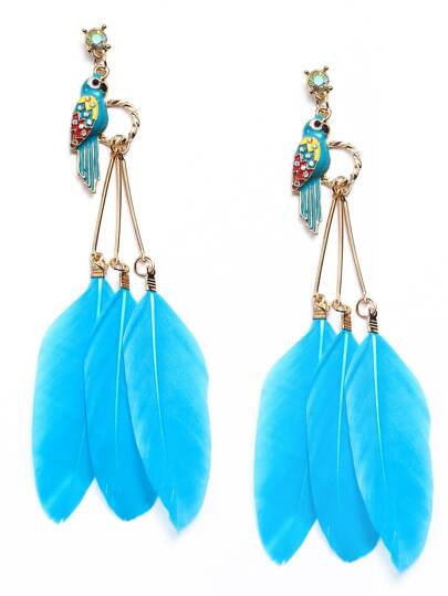 Enamel Parrot Blue Fake Feather Drop Earrings