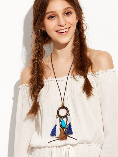 Faux Leather Ring Accent Fringe Pendant Necklace
