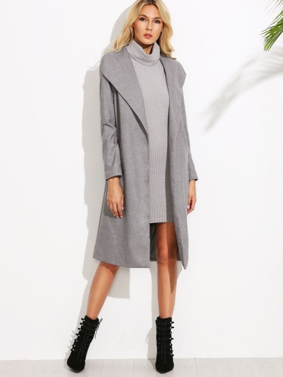 Grey Drape Collar Open Front Duster Coat