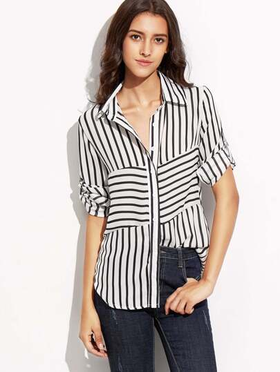 Black White Striped Curved Hem Shirt