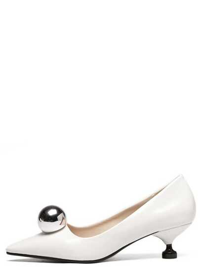 White Pointed Toe Ball Detail Kitten Heels