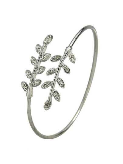 Silver Rhinestone Leaf Shape Adjustable Bracelet