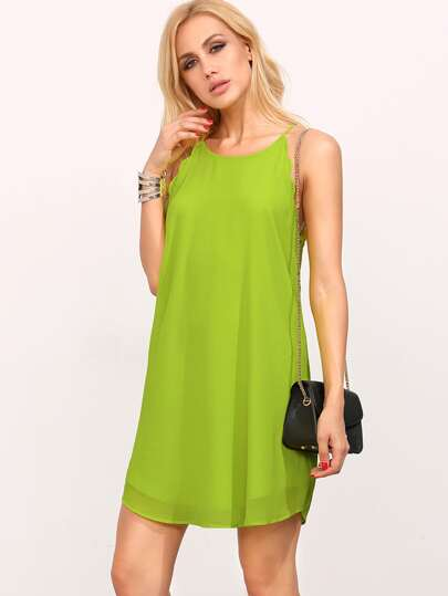 Green Spaghetti Strap Scallop Frock Shift Dress