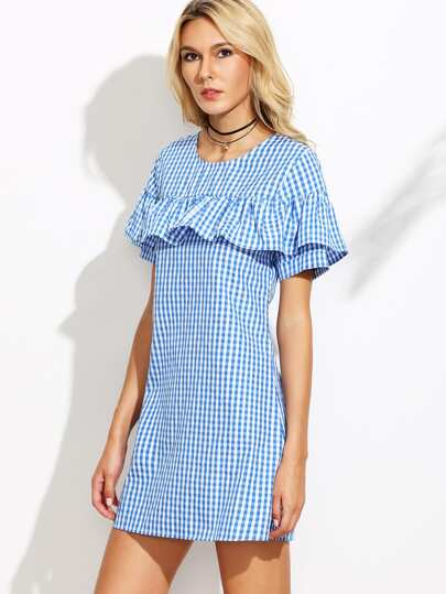 Light Blue Checkered Ruffle Zip Back Dress