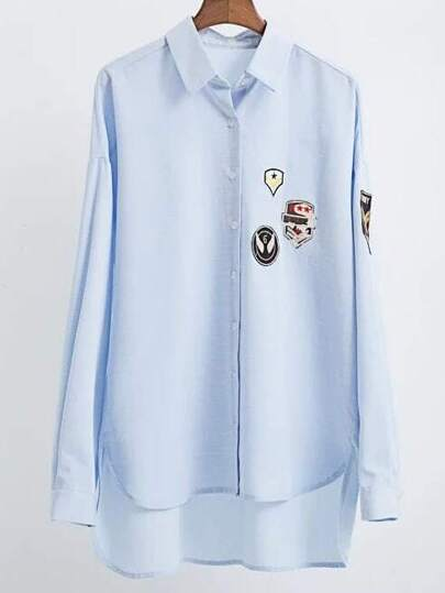 Blue Embroidered Patch Dip Hem Blouse