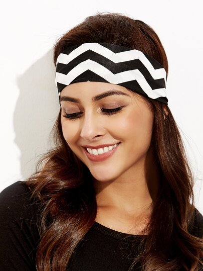 Black And White Wave Print Wide Headband