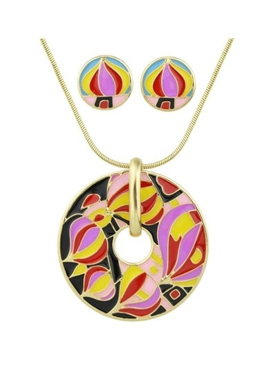 Red Enamel Geometric Pattern Round Necklace Earrings Set