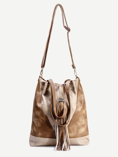 Yellow Faux Leather Tassel Trim Drawstring Bucket Bag