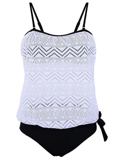 Black and White Crochet Overlay Spaghetti Strap Tankini Set